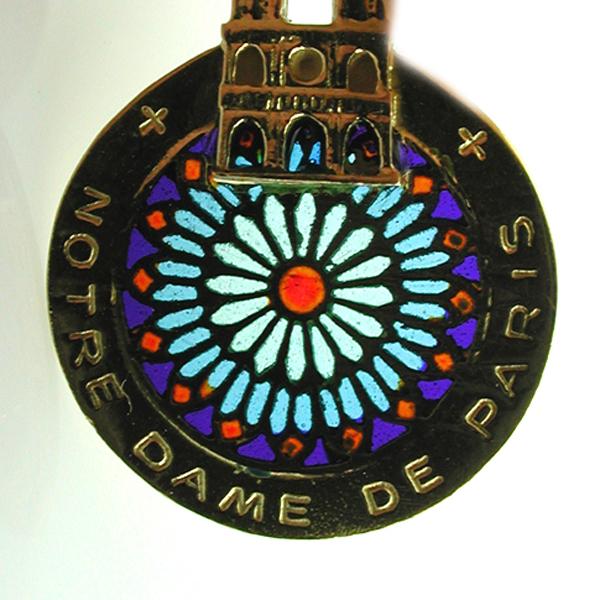 Welcome to splendid charms 18k gold notre dame de paris plique a jour enamel mosaic vintage charm pendant aloadofball Images