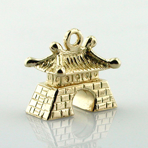 14k Gold Chinese Pagoda House 3D Travel Charm