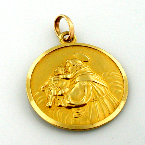 Welcome to splendid charms 18k gold st anthony vintage religious medal charm pendant aloadofball Images
