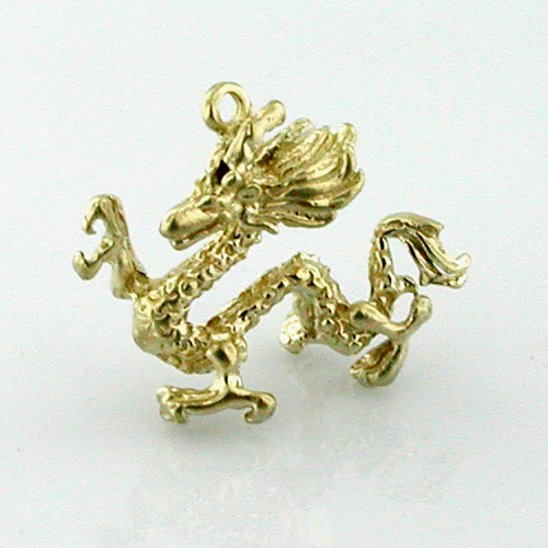 14k Gold Chinese Dragon 3D Charm